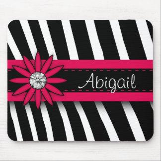Mousepad Gema floral do rosa quente & teste padrão da zebra