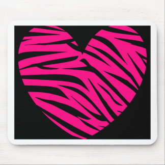Mousepad Listras da zebra do coração do rosa quente no