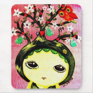 Mousepad Menina bonito - cresce uma árvore