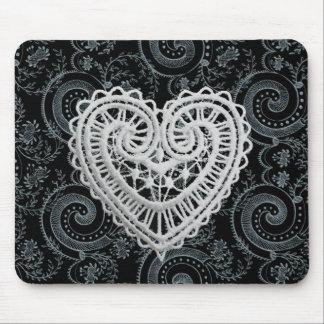 """Mousepad """"O design à moda"""" Crochet o coração/preto/cinza"""
