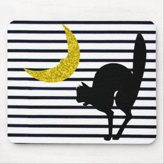 "Mousepad O ""divertimento acentua"" Halloween_Black Cat_Moon"