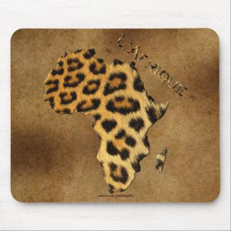 Mousepad O leopardo mancha o mapa de ÁFRICA em animais