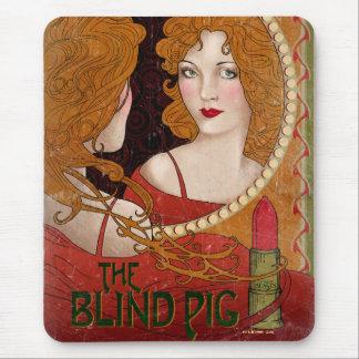 Mousepad Os trabalhos de arte cegos do vintage do porco