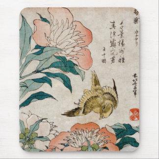 Mousepad Peônia & canário - tapete do rato japonês da arte