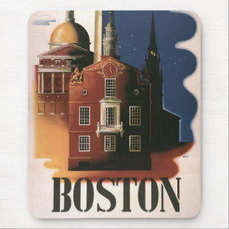 Mousepad Poster das viagens vintage de Boston,
