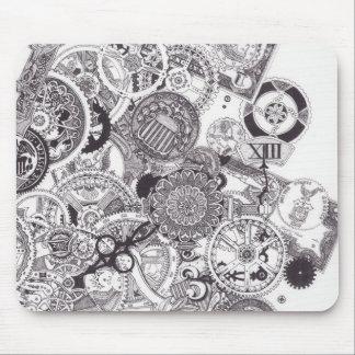 Mousepad Tempo & Steampunk preto & branco do dinheiro -