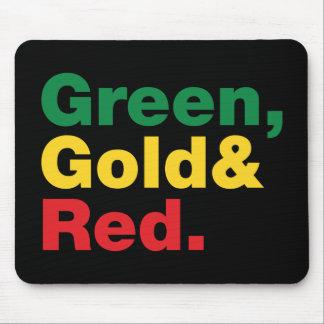 Mousepad Verde, ouro & vermelho