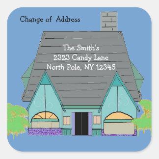 Mudança da casa de endereço acolhedor morna adesivo quadrado