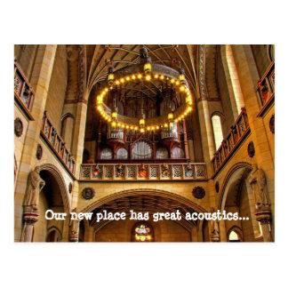 Mudança da catedral de endereço nós movemos cartão cartão postal