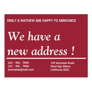 Mudança da mudança   do endereço do endereço novo cartão postal