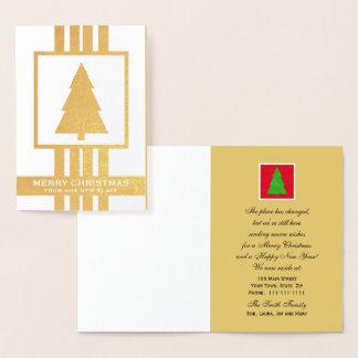 Mudança de folha de ouro do cartão de Natal de