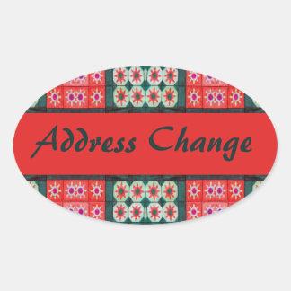 Mudança vermelha do endereço do azulejo da cerceta adesivo oval