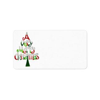 Muito uma etiqueta de endereço do Feliz Natal