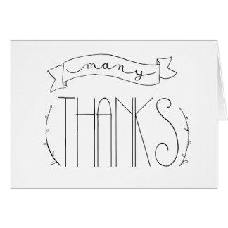 Muitos cartões de agradecimentos dos obrigados