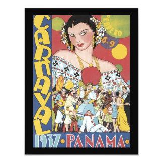 Mulher 1937 de Panamá Carnaval do vintage Convite 10.79 X 13.97cm