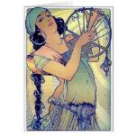 mulher aciganada da música de dança do pandeiro do cartões