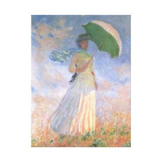 Mulher com belas artes de Monet do parasol Impressão Em Tela