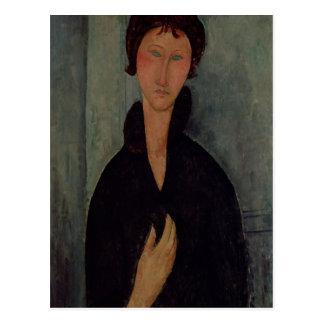 Mulher com olhos azuis, c.1918 cartão postal