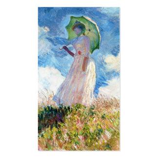 Mulher com uma arte de Claude Monet do parasol Cartão De Visita