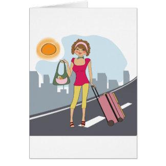 Mulher com uma mala de viagem cartão comemorativo
