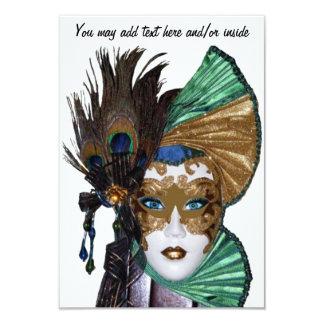 Mulher Convite-Bonita do carnaval na máscara Convite 8.89 X 12.7cm