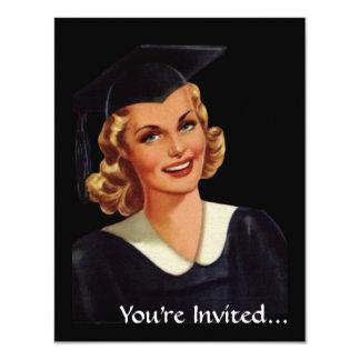 Mulher da graduação de Co-Ed da faculdade do Convite 10.79 X 13.97cm
