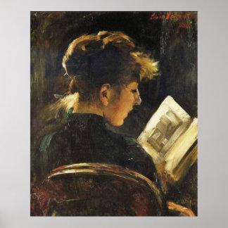 Mulher da leitura - poster da arte da reprodução