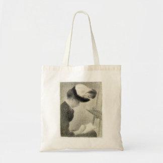 Mulher de Georges Seurat- assentada por uma armaçã Bolsas