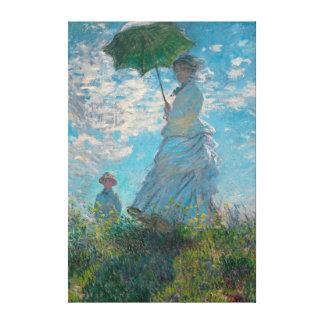 Mulher de Monet com umas belas artes do parasol Impressão Em Tela