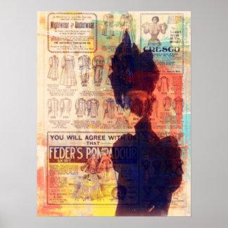 Mulher do vintage da arte abstracta recorda o meio poster