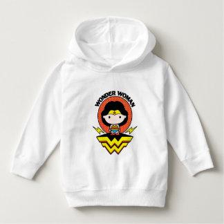 Mulher maravilha de Chibi com bolinhas e logotipo Camiseta