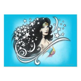 Mulher maravilha e estrelas convite 12.7 x 17.78cm