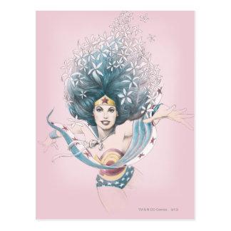 Mulher maravilha e flores cartão postal