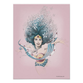 Mulher maravilha e flores pôster