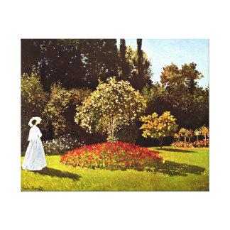 Mulher nas belas artes de Monet do jardim Impressão Em Tela