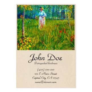 Mulher no jardim por Vincent van Gogh Cartão De Visita Grande