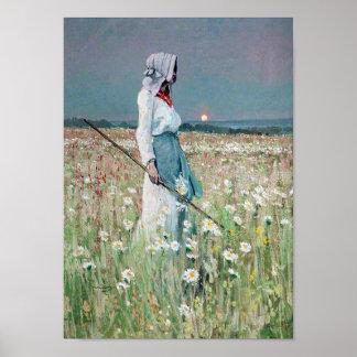 Mulher no poster das belas artes do vintage do cam