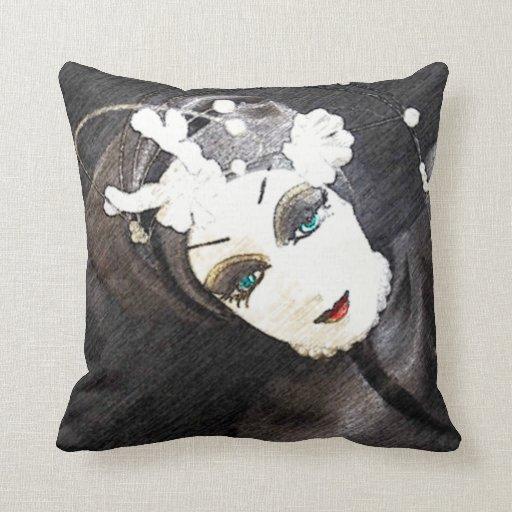 Mulher preto e branco da cara travesseiros