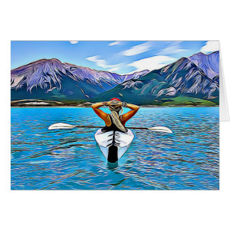 Mulher que Canoeing pelo cartão inspirado do