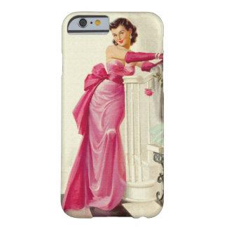 Mulher retro dos anos 50 com rosas capa barely there para iPhone 6