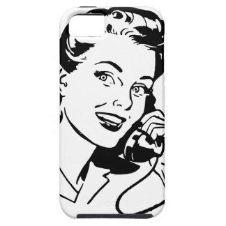 Mulher retro no telefone capa para iPhone 5