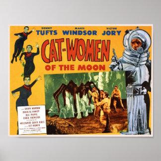 Mulheres do gato do poster da lua
