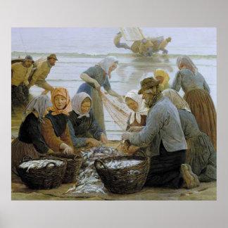 Mulheres e pescadores de Hornbaek - poster