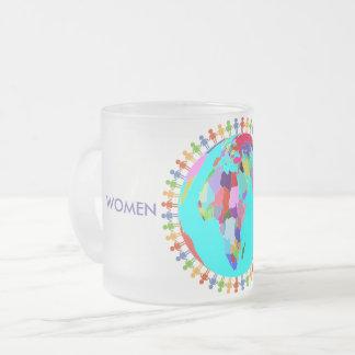 Mulheres unidas caneca de café vidro jateado