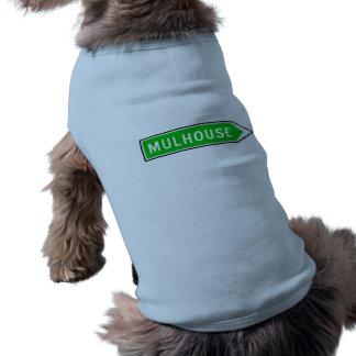 Mulhouse, sinal de estrada, France Camisa Sem Mangas Para Cachorro