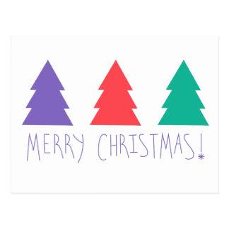 Multi cartão do Feliz Natal das árvores da cor Cartão Postal