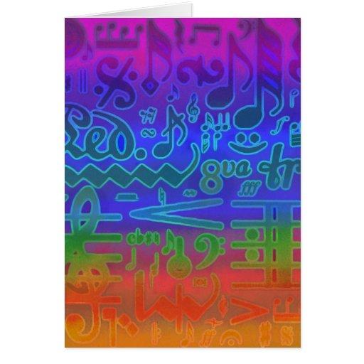 Multi níveis dos símbolos musicais cartão comemorativo