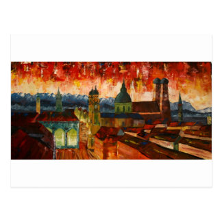 Munich com panorama dos cumes cartão postal