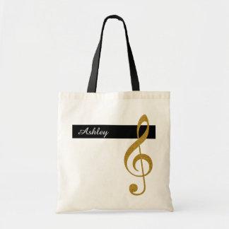 música conhecida e dourada do clef de triplo bolsa tote