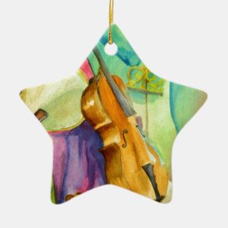 Música da aguarela ornamento de cerâmica estrela